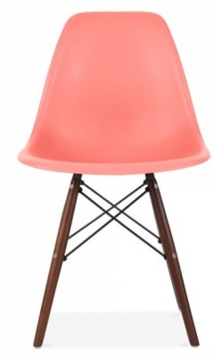 Eames Inspired Dsw Chaitr With Walnut Legs And A Blush Pink Seat Front View