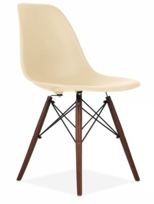 Eames Inspired Dsw Chair With Cream Chair And Walnut Legs