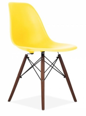 Eames Inspired Dsw Chair With A Lemon Seat And Walnut Legs Angle Shot