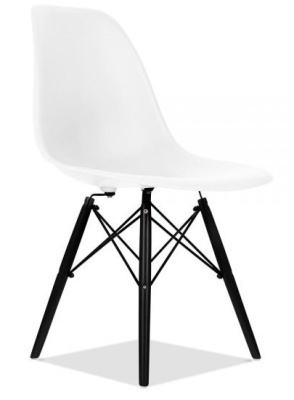 Eames Inspired DSW Chair With A White Seat And Walnut Legs Front Angle