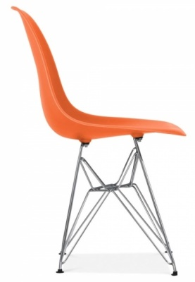 Eames Inspired Dsw Chair Side Angle Orange Seat