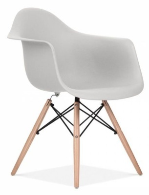 Eames Inspired DAW Chair Light Grey Front Angle
