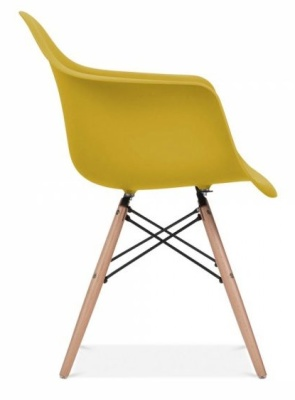 Eames Inspired DAW Chair With An Olive Green Seat Side View