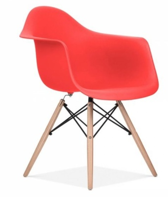 Eames Inspired DAW Chair Red Seat Front Angle