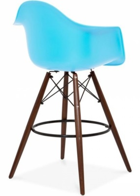 Eames Inspired DAW High Stool With A Blue Seat And Walnut Legs Angle Shot