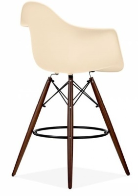 Eams Inspired DAW High Stool With Walnut Legs And A Cream Seat