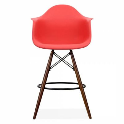 Eames Inspired DAR High Stool With A Red Seat And Walnut Legs Fron Shot