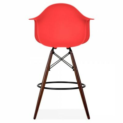 Eames Inspired Hig Stool With A Red Seat And Walnut Legs Rear Shot