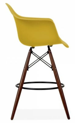 Eames Daw Inspired High Stool With An Olive Green Seat And Walnut Legs Side Shot