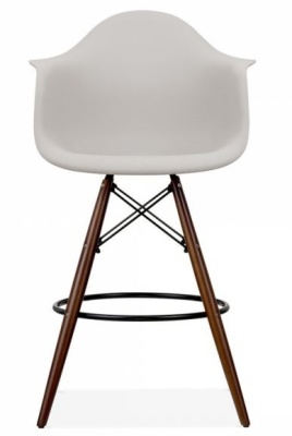 EAmes DAW Inspired High Stool With A Light Grey Seat And Walnut Legs Front Shot