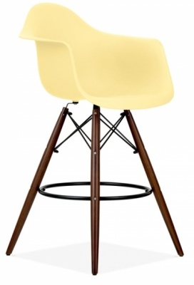Eames Daw Inspired High Stool With A Lemon Seat And Walnut Legs
