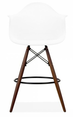 Eames Daw High Stool With A White Seat And Walnut Legs