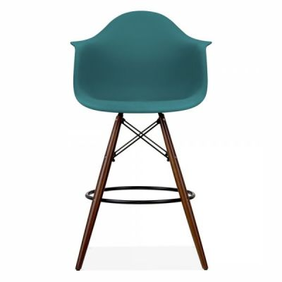 Eames DAW Inspired High Stool With A Teal Seat And Walnut Leg
