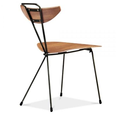Sima Chair Walnut Seat And Back Rear Angle View
