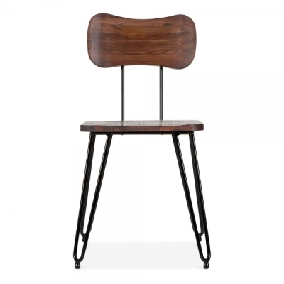 Tinto Industrial Style Cafe Chair In Walnut Front View