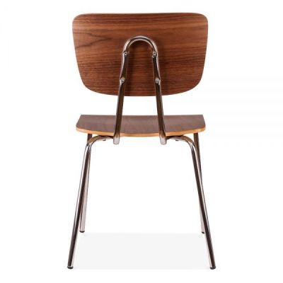 Costas Designer Cafe Chair In Walnut Rear View