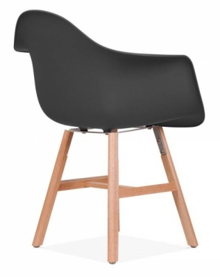 Eames Inspired DAW Chaior With Oxford Legs And A Black Seat Front Angle