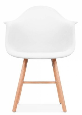Eames Inspired DAW Chair With Oxford Legs And A White Seat Front View