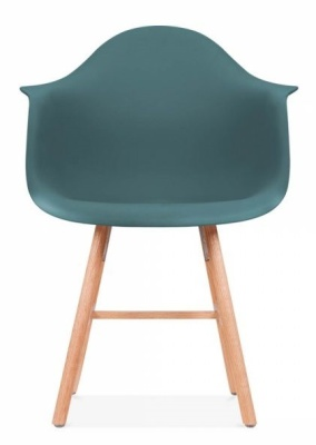 Eames Inspired DAW Chair With Oxford Legs And A Teal Seat Front Shot