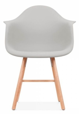 Eames Inspired DAW Chair With A Light Grey Seat And Oxford Legs Front View