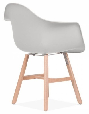 Eames Inspired DAW Chair With A Light Grey Seat And Oxford Legs Back Angle