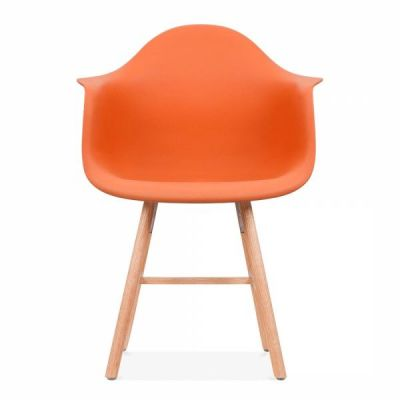 Eames Inspired DAW Chair With An Oranmge Seat And Oxford Legs Front View