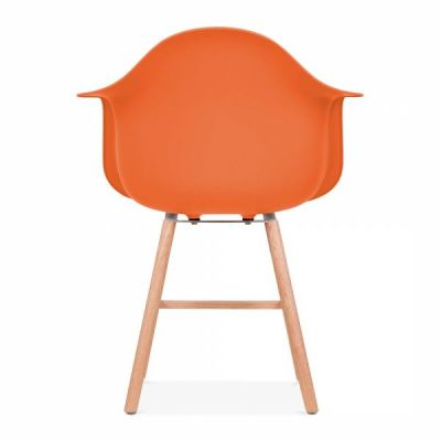 Eames Inspired DAW Chair With An Orange Seat And Oxford Legs Rear View