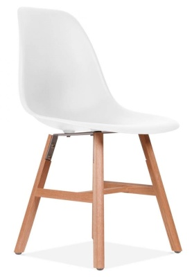 Eames Inspired DSW Chair With Oxford Legs And A Whiote Seat Front Angle