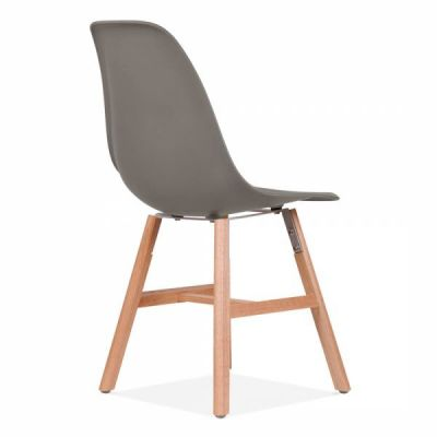 Eames Inspired DSW Chair With A Warm Grey Seat Annd Oxford Legs Rear Angle