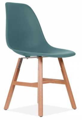Eames Inspired DSW Chair With A Teal Seat And Oxford Legs Front Angle