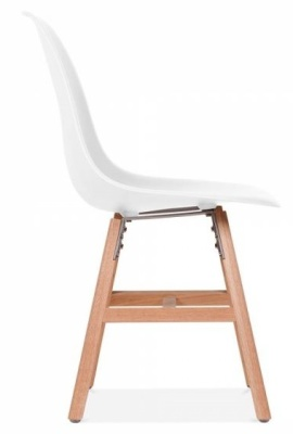 Eames Inspired DSW Chair With A White Seat And Oxford Legs Side View