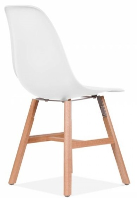 Eames Inspired DSW Chair With Oxford Legs And A White Seat Rear Ange View