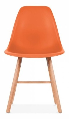 Eames Inspired DSW Chair With An Orange Seat And Oxford Legs Front Shot