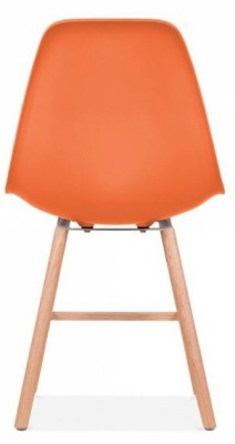 Eames Inspired Dsw Chair With An Orange Seat And Oxford Legs Rear View