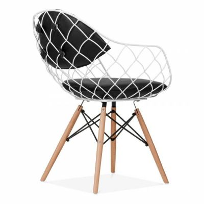 Paris Wire Chair White Frame Rear Angle View