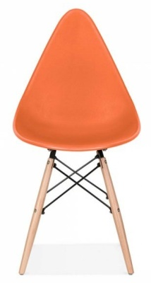 Scalana Designer Chair With An Orange Seat Front View