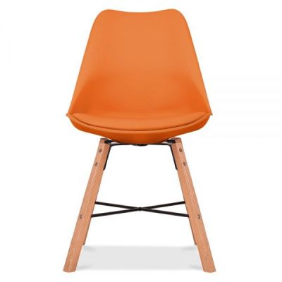 Crosstown Chair With An Orange Seat Front View
