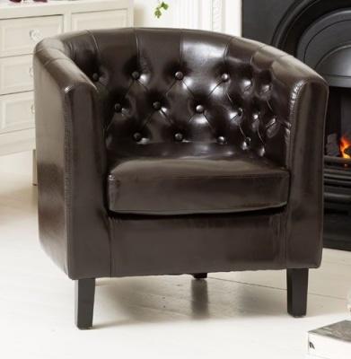 Northville Tub Chair Dark Brown Leather
