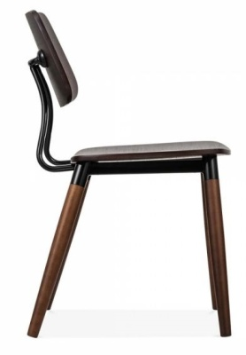 Amy Chair Dark Wood Black Accents Side View