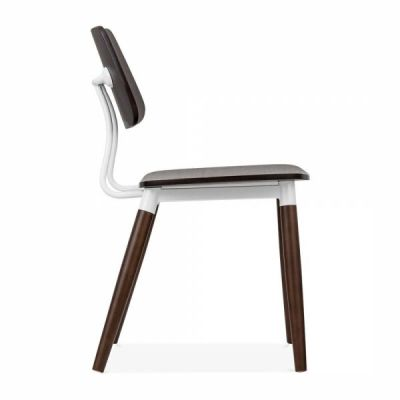 Amy Chair Dark Wood White Accents Side View