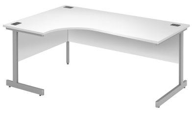 Abacus Left Hand Corner Desk In White