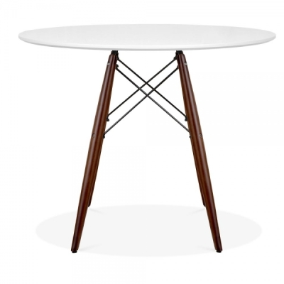 Eames DSW Table With Walnut Legs And A White Top 2