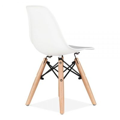 Eames Inspired Junior Dsw Chair In White Rear Angle