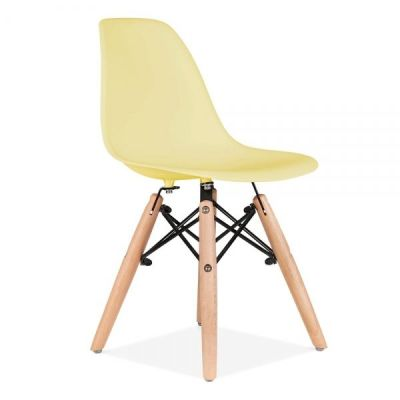 Eames Inspired Junior Dsw Chair With A Yellow Seat Front Angnle