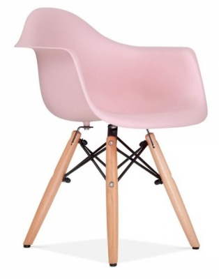 Eames Inspired DAW Chair Pink Seat Front Angle