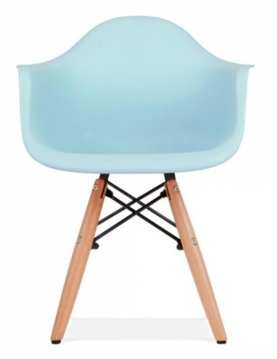 Eames Inspired Junor DAW Chair With A Light Blue Seat Front View