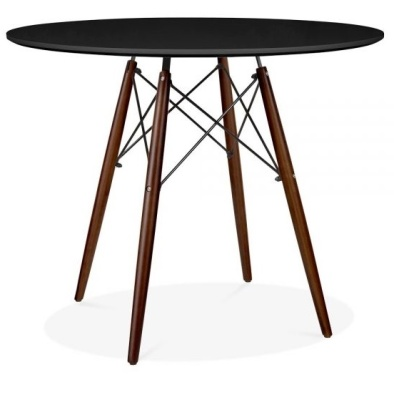 Eames Insp[ired DSW Table With A Black Top And Walnut Legs 2