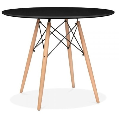Eames Inspired DSW Table With A Black Top And Natural Finish Legs