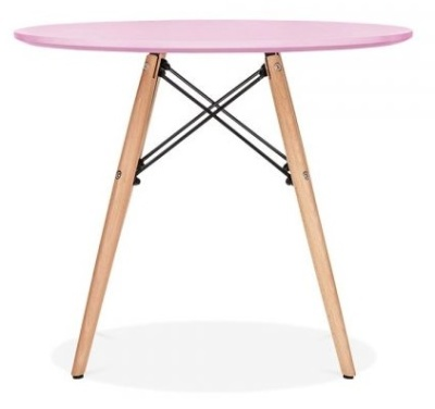 Eames Inpired Junior DSW Table With A Pink Ktop 3