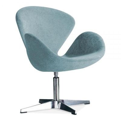Swan Style Chair Blue Fabric